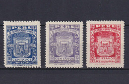 PERU 1932, Mi# 267-269, CV €38, Emblem, Architecture, MH/NG - Pérou