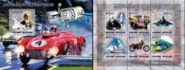 Guinea Bissau 2005, 100th J. Verne, Ferrari, Concorde, Train, Space, 6val In BF +BF - Trains