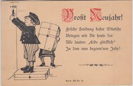 Glückwunsch - Prosit Neujahr Paketbote Vorläuferkarte München 1887 - Año Nuevo