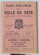 Sète. Plan De La Ville, 95 X 72 Cm Env. En Excellent état, Dans Sa Pochette 13 X 18 Cm Env., + Pubs De Commerces Sétois - Tourism Brochures