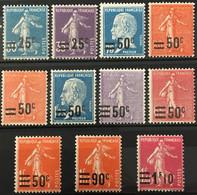 YT 217 à 228 (*) MH 1926-27 Surchargés (11 Valeurs) Semeuse Pasteur (côte 18,5 Euros) France – Kr4lot - Unused Stamps