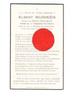 Faire-part De Décès Albert MUNIKEN , Soldat 3e Rgt D'Artillerie - GRAND-RECHAIN / Nuremberg 1941- Prisonnier - Guerre 40 - Avvisi Di Necrologio