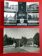 2 X Reichenberg Liberec - Rathaus - Straßenbahn - Jeschken - Echt Foto - Tschechien Böhmen - Postkarten 1967, 1968 - República Checa