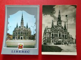 2 X Reichenberg Liberec - Rathaus - Straßenbahn - Wappen - Echt Foto - Tschechien Böhmen - ältere Postkarten - República Checa