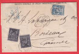 N°89 X2 + 90 PARIS LEVEE EXCEPTIONELLE RUE TAITBOUT 1E POUR BORDEAUX GIRONDE 1882 - 1877-1920: Semi Modern Period