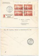 Switzerland 1942 Registered Label Cover From Zurichto Rüthi Stamp Zumstein Pro Patria-16 Block Of 4 - Cartas