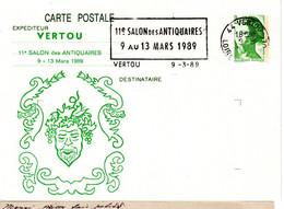 """ENTIER POSTAL REPIQUE FRANCE 1989 - OBLIT. MECANIQUE """"SALON DES ANTIQUAIRES"""" - - Overprinter Postcards (before 1995)"""