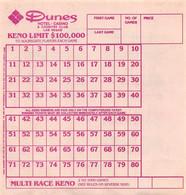 Dunes Hotel & Casino - Las Vegas, NV - Blank Keno Sheet - Casino Cards
