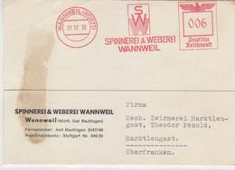 Freistempel Der Fa. Spinnerei&Weberei Aus WANNWEIL 21.12.38 Nach  Marklleugast - Covers & Documents