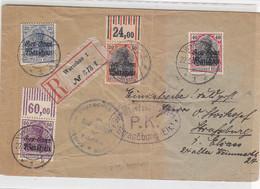 DP In POLEN R-Brief Mit 13/16 Aus WARSCHAU 22.9.18 Von Kaisl.Deutsche Polizei Warschau Nach Strassburg / Zensur -Erhalt - Occupation 1914-18