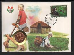 BUZIN / FDC AVEC PIECE COMMEMORATIVE / O.N.U. / RWANDA 1990 / COB 1325 / COLOBE NOIR ET BLANC - 1985-.. Birds (Buzin)