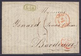 """LAC """"Manufacture D'Armes De Guerre Et De Luxe Louis Malherbe"""" Càd LIEGE /15 NOV 1843 Pour BORDEAUX - Griffe [L.4.R] - Po - 1830-1849 (Independent Belgium)"""