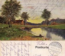 AK Gemälde In Farbe - Feldpost Von 1915 Aus Kelsterbach - Pintura & Cuadros