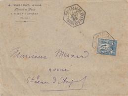 RARE SUR SAGE CHARENTE INFERIEURE ENV 1899 PONTILLAC BUREAU AUXILIAIRE  COMMUN SUR SEMEUSE - 1877-1920: Semi Modern Period