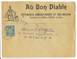 GARD SAGE ENV ILLUSTREE 1894 NIMES  AU BON DIABLE GRAPHISME SUPERBE - 1877-1920: Semi Modern Period