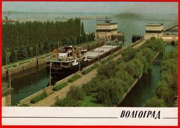 17889 Gateway Volgograd Hydroelectric Barge Cargo Ship Soviet Motherland Channel 1989 Volgograd USSR Card - Russia