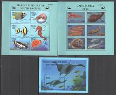 PK098 PALAU FISH & MARINE LIFE OF THE SOUTH PACIFIC DEEP-SEA FISH 1BL+2KB MNH - Vie Marine