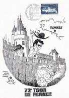 Let322 FRANCE Vannes  Départ Du Tourde France 1985 Encart Illustré 28-29 Juin 1985 - Gedenkstempels