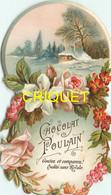 Chromo Poulain Façon Découpis N° 1, Couronne De Fleurs, Roses Et Lys, Scan Recto Verso - Poulain