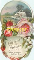 Chromo Poulain Façon Découpis N° 2, Couronne De Fleurs, Roses Et Muguet, Scan Recto Verso - Poulain