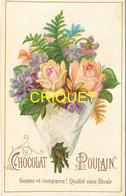 Chromo Poulain , Gaufrée Satinée, Bouquet De Fleurs, Scan Recto Verso - Poulain