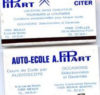 77 MEAUX - Lot De 2 Pochettes Allumettes Publicité PIPART AUTOMOBILES CITROËN CITER, 8 Rue De Senlis & Ctre Cial Beauval - Meaux