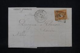 FRANCE - Lettre Commerciale De Lyon Pour Cosne En 1871, Affranchissement Bordeaux 40ct - L 100358 - 1849-1876: Classic Period