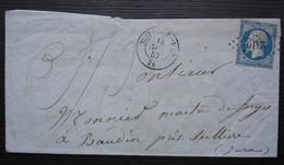 Nuits-Côte-d'Or Pc 2310 1857 Olivier, Quincaillerie Et Clouterie Lettre Pour Les Forges De Baudin Jura - 1849-1876: Période Classique