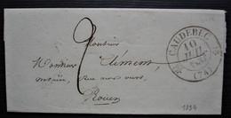 1834 Caudebec CAD Type 12, Lettre Pour Rouen - 1801-1848: Precursores XIX