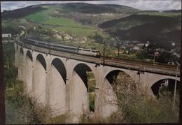 Cpm Publicités Villefort  (verso) Trains Transports Série 2000 Les Viaducs Lozériens SENOUARD Ligne Béziers-Neussargues - Villefort