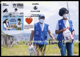 ESPAÑA SPAIN (2021) UNHCR ACNUR Frente A La COVID 19, Agencia ONU Para Los Refugiados, Sello Solidario - Maximum Card - Maximum Kaarten