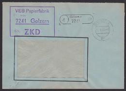 Golzern PSSt. (4) Grimma VEB Papierfabrik  R3 ZKD-Kastenstempel 11.8.65 Nach Halle - Poststempel - Freistempel