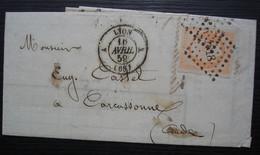Lyon  A 1859 Pc 1818 Sur 40 Centimes Orange Pâle Lettre De Vouillemont Frères Pour Carcassonne - 1849-1876: Klassieke Periode