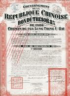 China 1920: Chinese Republic 8% Bon Du Trésor Of The Lung-Tsing-U-Hai Railway - Asia