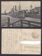 Feldpostkarte 1. WK Memel Hafenbild Frachtschiff Austa Gestempelt 1915 - Zonder Classificatie