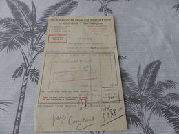 62 -  Facture, Société Française MARTINI & ROSSI , Avenue Michelet , Saint-Ouen, 1949 - Alimentare