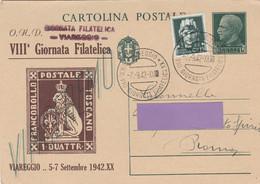 Cartolina - Postcard /  Viaggiata - Sent /  Viareggio, VIII Giornata Filatelica 1942 - Bourses & Salons De Collections