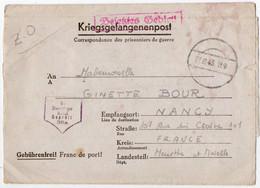 MILITARIA. 39-45. POLOGNE . MALBORK ( MARIENBURG ) ENVELOPPE.CAMP De PRISONNIERS. STALAG XXB Pour NANCY (54) 1943. - Zonder Classificatie
