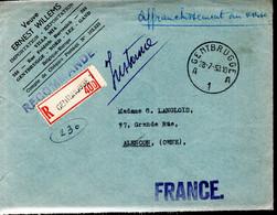 LETTRE RECOMMANDEE 1953 - AFFRANCHISSEMENT AU VERSO - - Covers & Documents