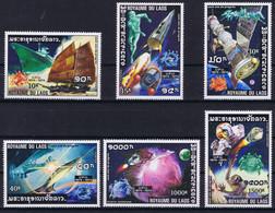 Laos Space 1975 100th Anniversary UPU, Apollo, Concorde And Soyuz Nice Set - Laos