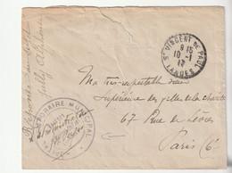 """Lettre  Avec Cachet """" Hôpital Temporaire Municipal / St Vincent De Paul, Landes"""", 1917 - Covers & Documents"""