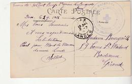 """Carte Dax/ Attelage Et Cachet """" Hôpital Auxiliaire N°86, Baignots, Société De Secours Au Blessés, Dax"""" - Covers & Documents"""