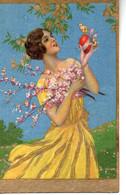 Illustrée Dorée Genre BUSI Ou CORBELLA : Femme Aux Fleurs - 1900-1949