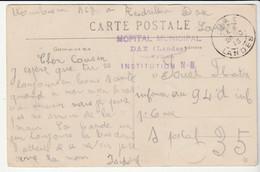 "Carte Dax/ Attelage Et Cachet "" Hôpital Municipal, Institution ND, Dax/ Landes"", 1915 - Covers & Documents"
