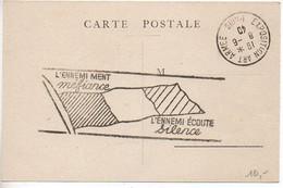Carte Souvenir Exposition Art Armée Paris 1940 - Cachet 'L'ennemi Ment Méfiance / L'ennemi écoute Silence' - WW II