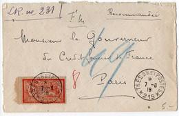 40c Merson Sur Lettre Recommandée De 1918 - CaD 'Trésor Et Postes * 215 *' - 1877-1920: Semi Modern Period