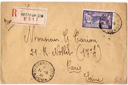 60c Merson Sur Lettre Recommandée De 1923 - CaD 'Trésor Et Postes * 209 *' - 1921-1960: Modern Period