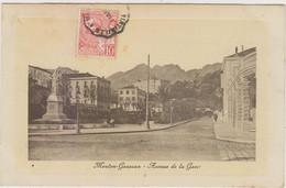 MENTON : CPA CADREE NON TROUVEE SUR SITES.GARAVAN. L AVENUE DE LA GARE.AFFRANCHISSEMENT MONACO .1911.BON ETAT - Menton