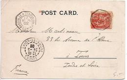 CaD De Ligne Octogonal 'Marseille à La Réunion 1° L.U. N° 1' Sur Carte De 1902 - Posta Marittima