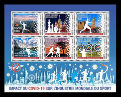 Djibouti 2021 Mih. 4117/22 COVID-19 Coronavirus Stops Sports. Olympic. Chess. Tennis. Football. Ice Hockey MNH ** - Djibouti (1977-...)